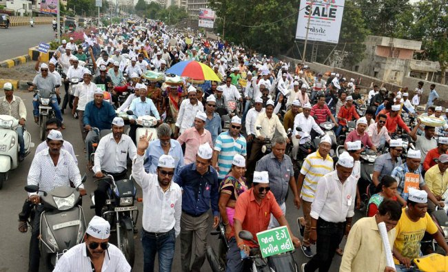Farmers protesting at a rally in Shuda in Surat on Monday...