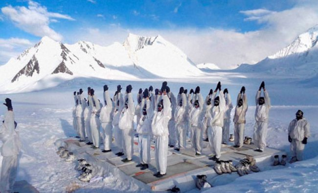 Soldiers perform Yoga on 2nd International Yoga Day in Siachen Glacier...