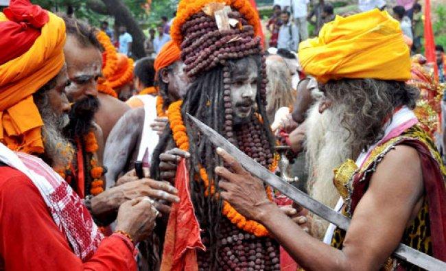 Naga sadhus take out rally to Kamakhya temple ahead of the Ambubachi mela in Guwahati...