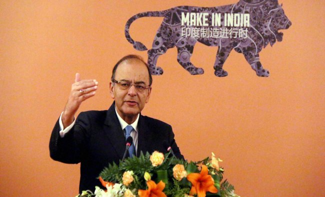 Finance Minister Arun Jaitley addresses the Invest in India Business Forum in Beijing...