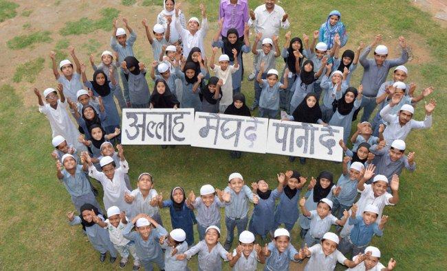 Children of Madarsa Maulana Azad Upper Primary School pray for rains in Jodhpur ...