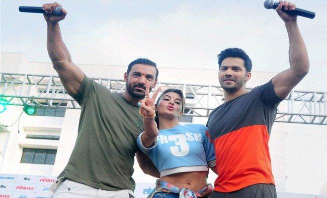 John Abraham, Varun Dhawan and Jacqueline Fernandez during the pramotion...