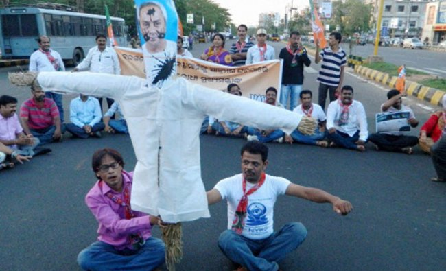 BJP activists holding a protest in front of Ram Remple in Bhubaneswar on Friday...