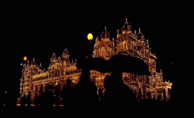 Illuminated Mysuru Palace during the marriage....