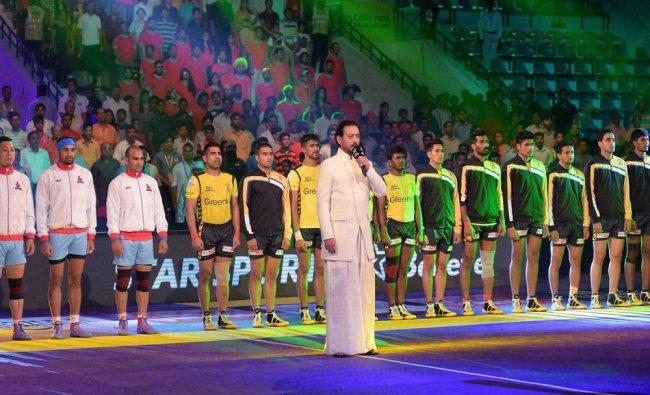 Bollywood actor Irrfan Khan during the Pro Kabaddi match between Jaipur....
