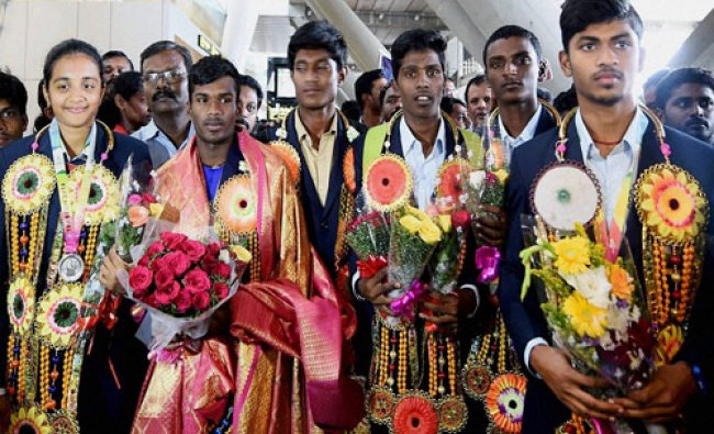 The 9 athletes from Tamilnadu, among the 148 others from India, who were in Turkey to participate...