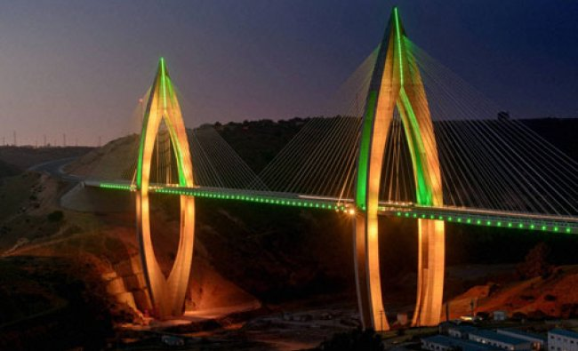 Mohammed VI Bridge illuminates the desert outside Morocco\'s capital city, Rabat...