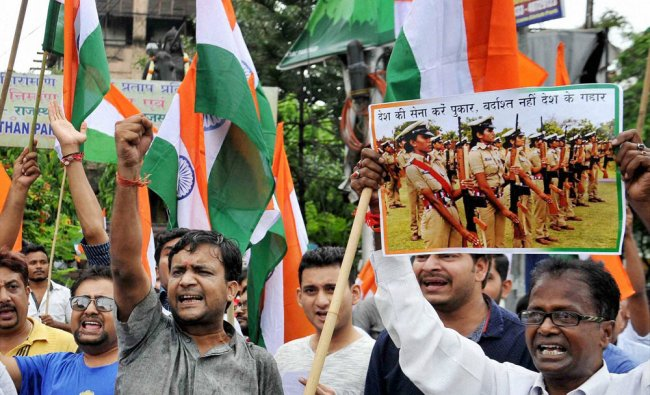 People participate in \'Walk for Indian Armed Forces\' rally to support them, in Kolkata...