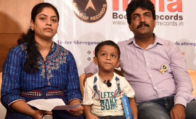 Shreeganesh Biradar 4 year old, recorded India book in recites in a minute more than 51 spelling...