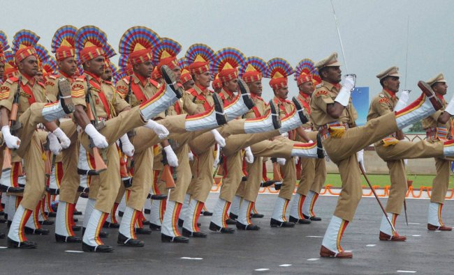 CRPF personnel march during their 77th anniversary function at Kadarpur in Gurgaon on Wednesday....