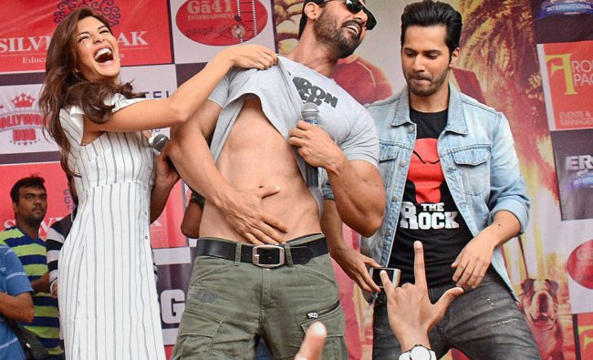 Varun Dhawan, John Abraham and Jacqueline Fernandez during promotion of their upcoming movie...
