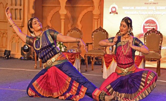 Artist from Venkateshwara Natyamandira performing Bharatanatya on the occasion of KS&DL Centenary...