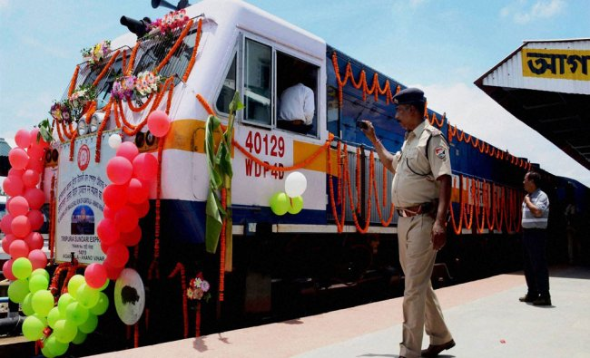 An security person captures the picture of new Tripura Sundari Express from Agartala...