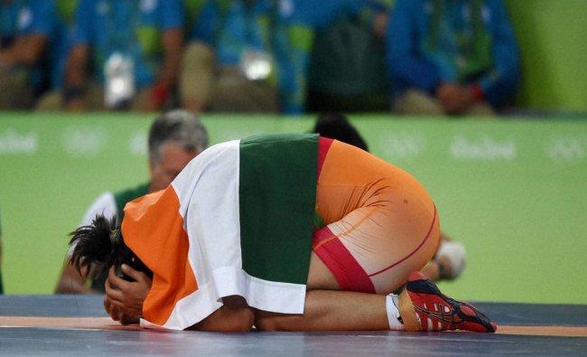 India\'s Sakshi Malik celebrates after winning bronze against Kyrgyzstan\'s Aisuluu Tynybekova...