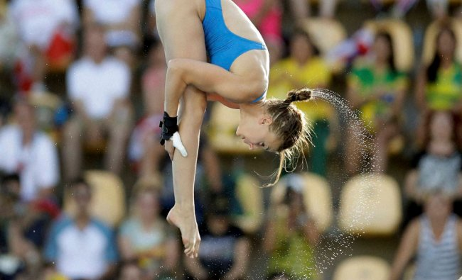 France\'s Laura Marino competes during the women\'s 10-meter platform diving preliminary round...