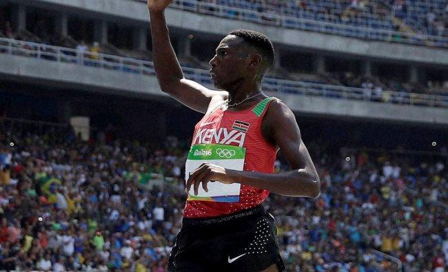 Kenya\'s Conseslus Kipruto celebrates after winning the men\'s 3000-meter steeplechase final...