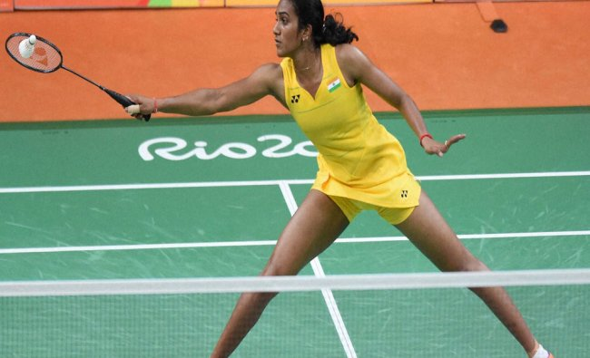 India\'s Sindhu Pusarla plays against Japan\'s Nozomi Okuhara during a women\'s singles semifinal...