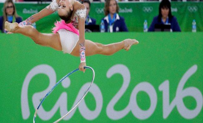 Azerbaijan\'s Marina Durunda performs during the rhythmic gymnastics individual all-around...