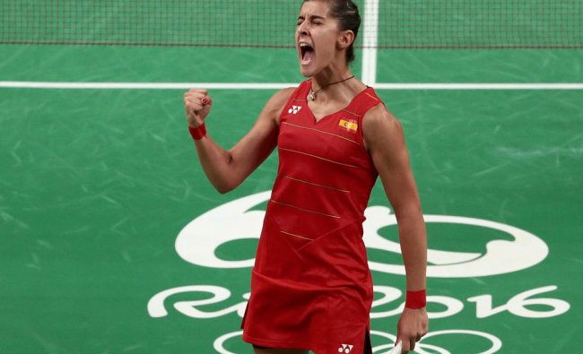 Carolina Marin (ESP) of Spain reacts during her match against P.V. Sindhu (IND) of India...