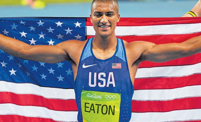 Ashton Eaton after winning the second Olympic decathlon gold...