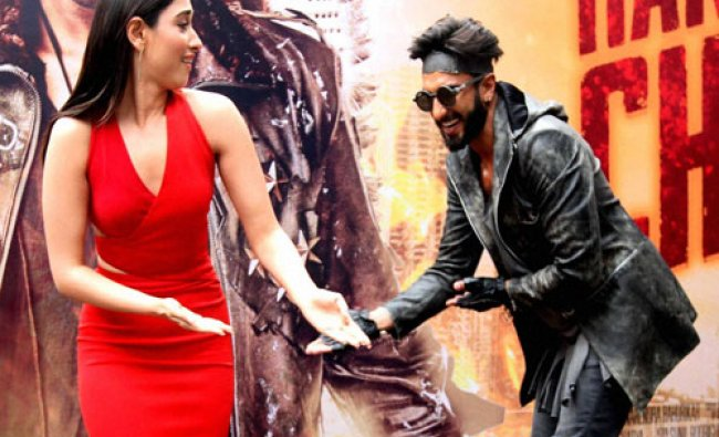 Bollywood actors Ranveer Singh and Tamannah Bhatia during the trailer launch of their Ad film...