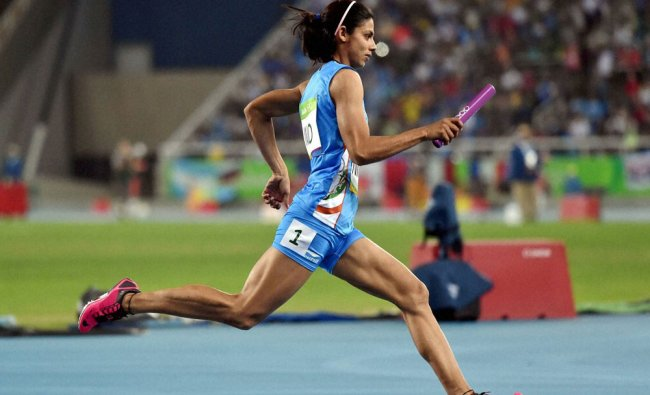 Women athlete Nirmala participates in the 4x400m in 2016 Summer Olympics at the Olympic stadium...