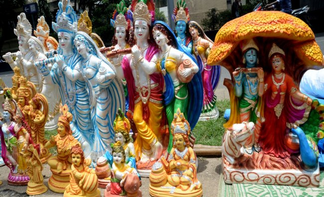 Radha Idols are arranged to sell for the Janmashtami on West of Chord road in Bengaluru...