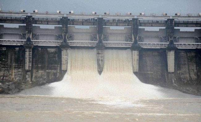 Water gushing out after two sluice valves of Kolar Dam were opened in Bhopal...