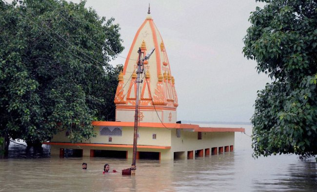 View of a temple submerged in water of river Ganges at Salori area in Allahabad...