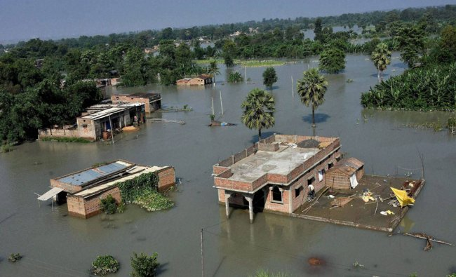 Submerged houses in flooded area of Hajipur, Bihar...