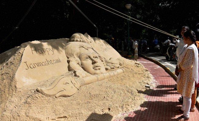 A sand art of Lord Krishna made by Sand Artist Sudarshan Patnaik ahead of Krishna Janmashtami...