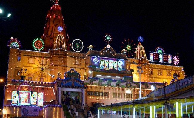 A view of lighting at Sri Krishna Janamsthan temple during Sri Krishna Janmashtami festiva...