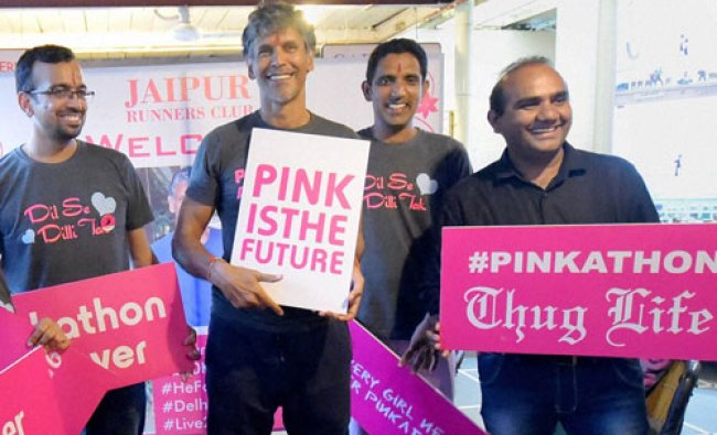 Actor Milind Soman during a press conference to promote Pinkathon run in Jaipur on Tuesday....