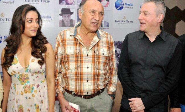 Victor Banerjee with actress Raima Sen and Argentinian film director Pablo Cesar...