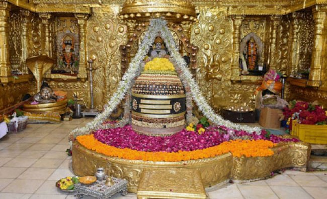 A view of decorated Shivalinga at Somnath on Tuesday...