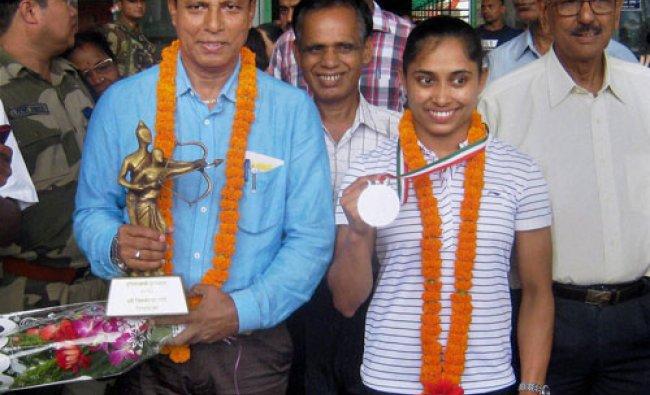 Rajiv Gandhi Khel Ratna awardee gymnast Dipa Karmakar and Dronacharya award winner coach...
