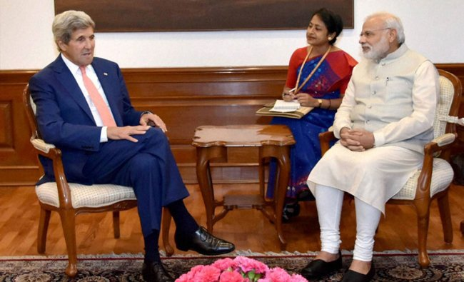 Prime Minister Narendra Modi with US Secretary of State John Kerry at a meeting in New Delhi...
