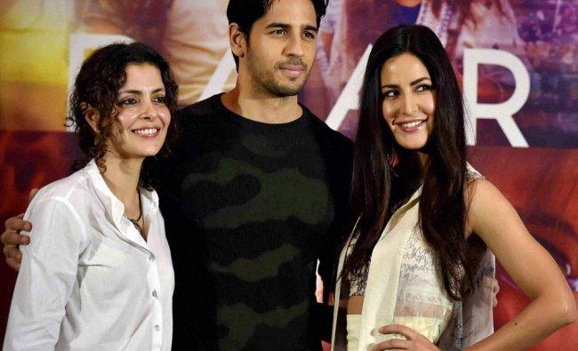 Film director Nitya Mehra, actor Sidharth Malhotra and actress Katrina Kaif during promotion...