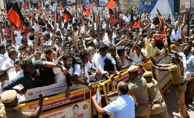 DMK activists stage a rail roko protest as a part of the Cauvery water dispute...