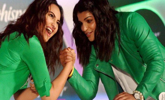 Wrestler Sakshi Malik and bollywood actress Sonakshi Sinha during a promotional event in Mumbai...