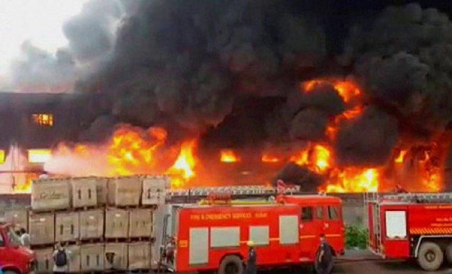 A major fire at a yarn factory at Kosamba near Surat on Tuesday...