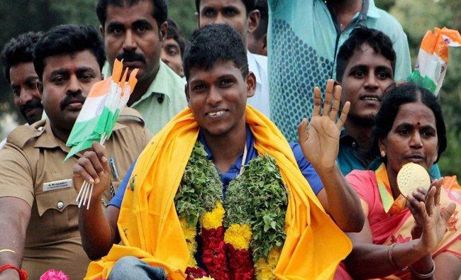 Thangavelu Mariyappan who won the gold in the Paralympics in Rio de Janeiro...