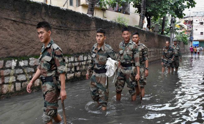 Army personnel arrive to help flood affected people in Hyderabad...