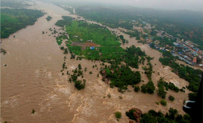 An aerial view of the flood hit Edupalaya village in Medak district of Telangana...