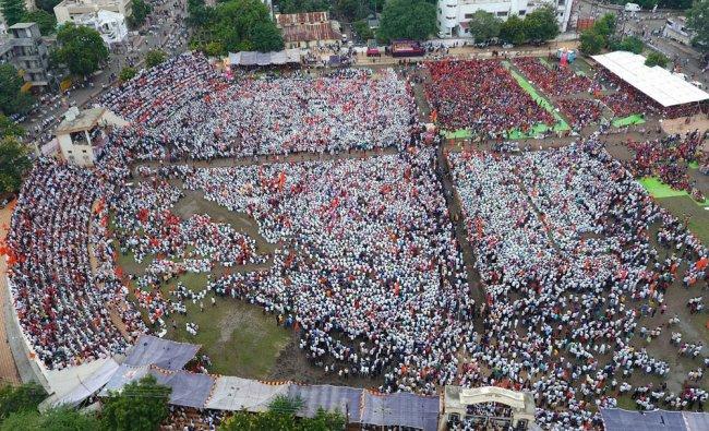 Maratha community members hold a protest rally demanding justice for Kopardi rape victim...