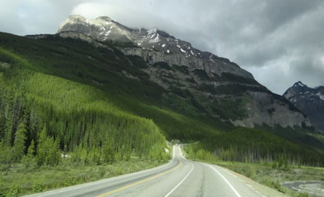 A road through Rocky mountains in Canada