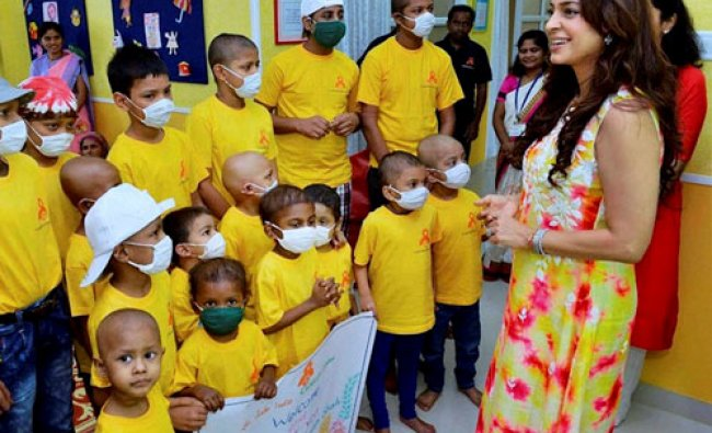 Bollywood actor Juhi Chawla during the inauguration of a cancer initiative...
