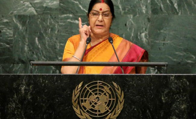 Sushma Swaraj, Minister of External Affairs for India, speaks during the 71st session...