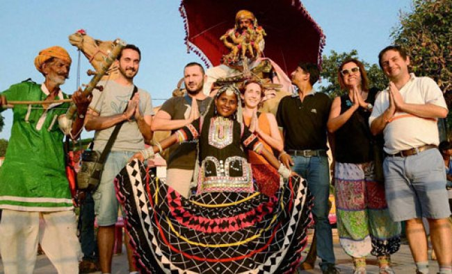 Tourists celebrating World Tourism Day in Pushkar on Monday...