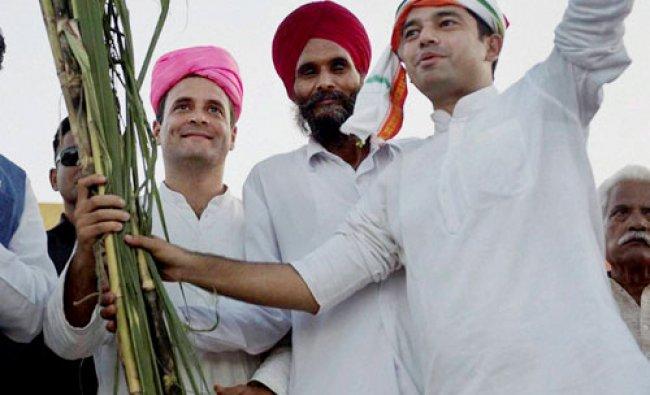 Congress Vice President Rahul Gandhi during his Kisan Yatra in Lakhimpur...